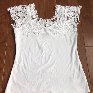 White Cami with crocheted shoulders